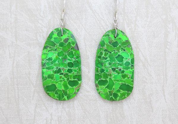 Mojave Green Turquoise Slab Earrings Santo Domingo - 6201pl