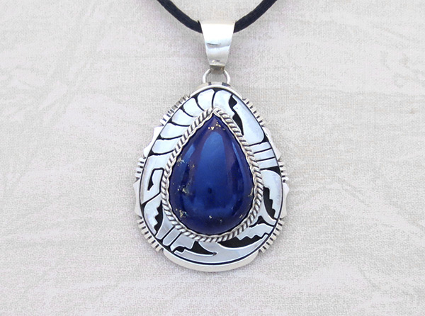 Lapis Lazuli & Sterling Silver Pendant Navajo Jewelry - 6143dt