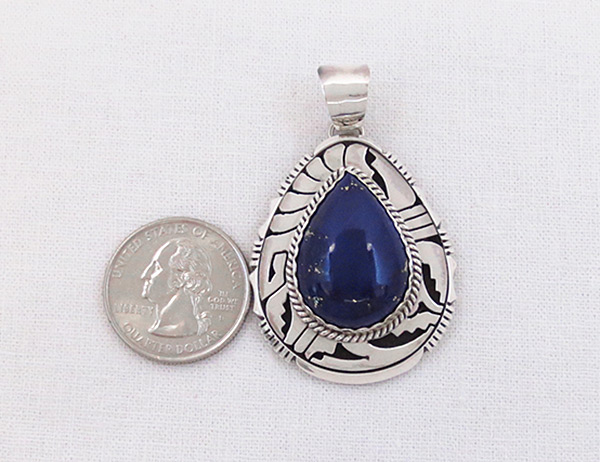 Image 1 of Lapis Lazuli & Sterling Silver Pendant Navajo Jewelry - 6143dt
