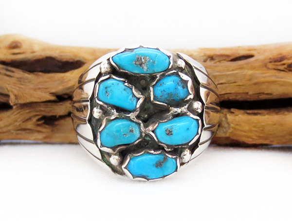 Large Turquoise & Sterling Silver Ring Size 13.5 Navajo Jewelry - 6215rio