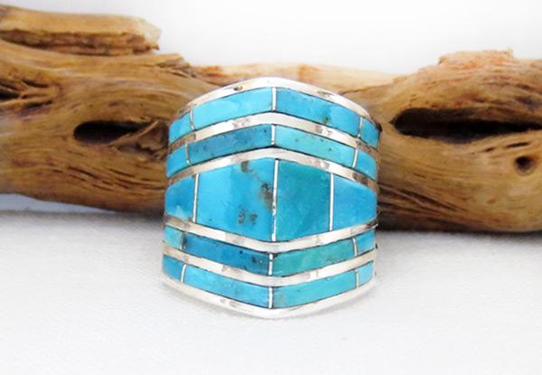 Turquoise Inlay & Sterling Sterling Ring Sz 8.5 Zuni Jewelry - 6214rio