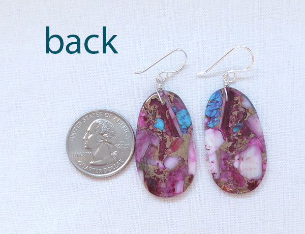 Image 2 of   Turquoise & Spiny Oyster Slab Earrings Native American Jewelry - 6230pl