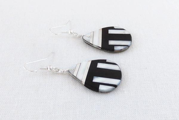 Image 1 of     Jet MOP & Sterling Silver Earrings Daniel Coriz Kewa - 6231rio