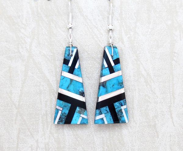 Turquoise Jet MOP & Sterling Silver Earrings Daniel Coriz - 6145rio