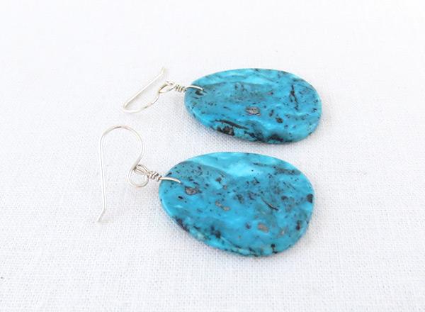 Image 1 of      Native American Jewelry Turquoise Slab Earrings Kewa - 6234pl