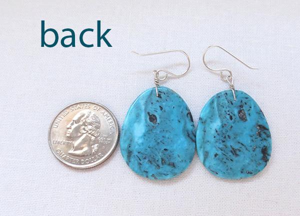 Image 2 of  Native American Jewelry Turquoise Slab Earrings Kewa - 6234pl