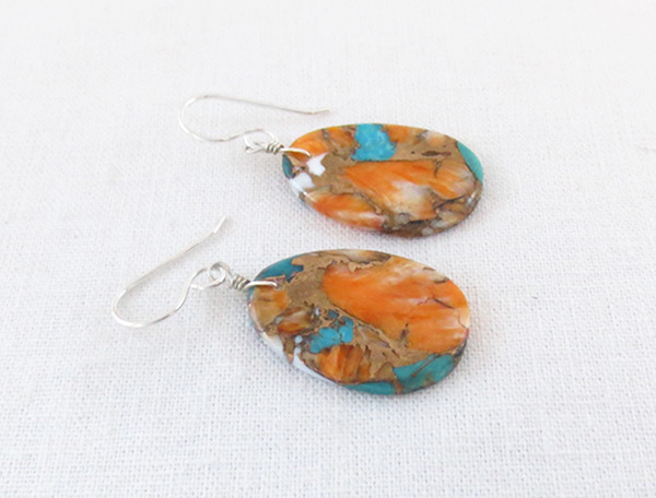Image 1 of      Turquoise & Spiny Oyster Slab Earrings Native American Jewelry - 6237pl