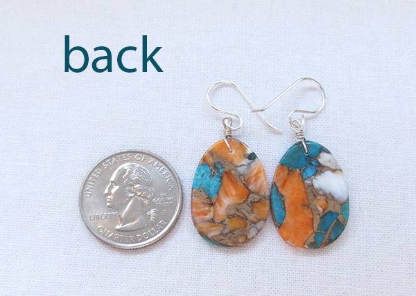 Image 2 of      Turquoise & Spiny Oyster Slab Earrings Native American Jewelry - 6237pl