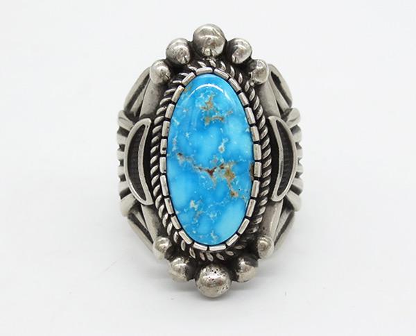Kingman Turquoise & Sterling Silver Ring Albert Jake Navajo - 7102coz