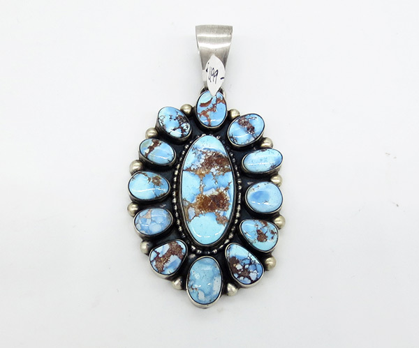 Image 0 of Large Golden Hill Turquoise & Sterling Silver Pendant Navajo Jewelry - 7103coz