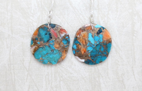 Turquoise & Spiny Oyster Slab Earrings Native American Jewelry - 4985pl