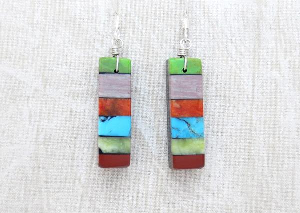 Image 0 of Turquoise Stone Inlay Earrings Mary Tafoya Santo Domingo - 4988mlt