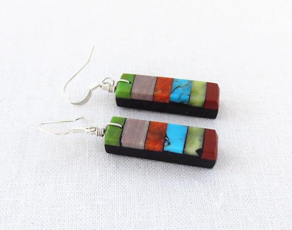 Image 1 of Turquoise Stone Inlay Earrings Mary Tafoya Santo Domingo - 4988mlt