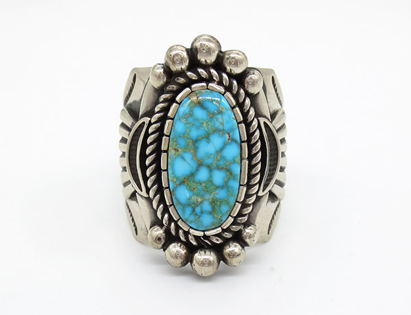 Kingman Turquoise & Sterling Silver Ring Sz 12.75 Albert Jake Navajo - 7105coz