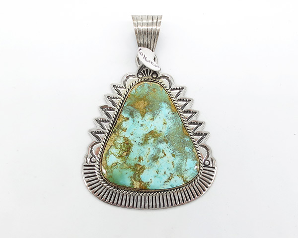 Large Royston Turquoise & Sterling Silver Pendant Navajo  Jewelry- 7118coz