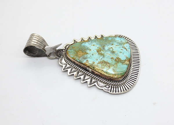 Image 1 of   Large Royston Turquoise & Sterling Silver Pendant Navajo  Jewelry- 7118coz
