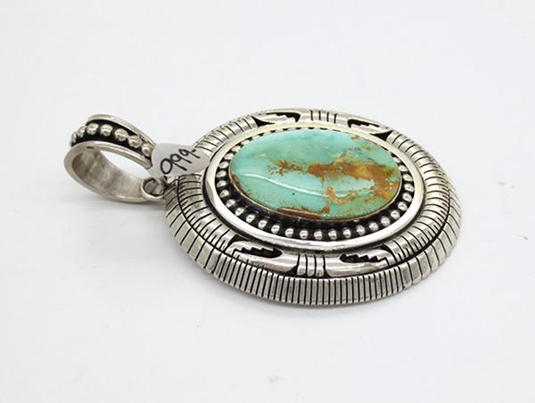 Image 1 of Big Royston Turquoise & Sterling Silver Pendant Johnathan Nez Navajo - 7120coz