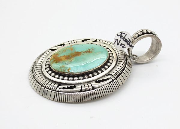 Image 2 of Big Royston Turquoise & Sterling Silver Pendant Johnathan Nez Navajo - 7120coz