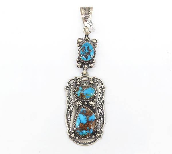 Candelearia Turquoise & Sterling Silver Pendant Navajo Jewelry - 7026coz