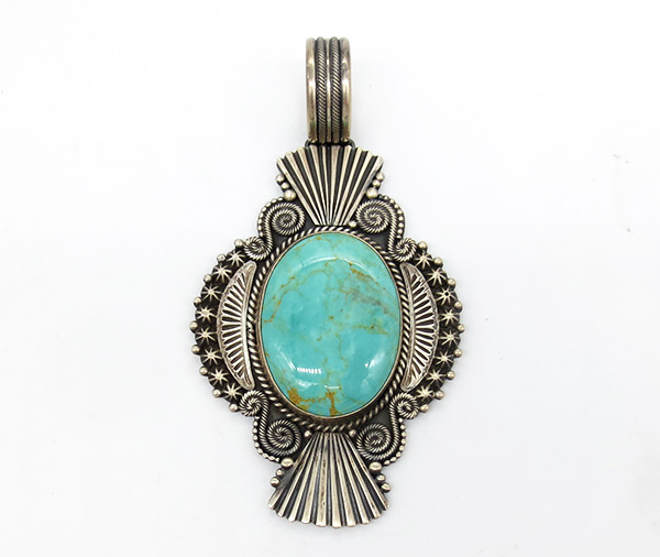 Large Carico Lake & Sterling Silver Pendant Navajo Jewelry - 7125coz