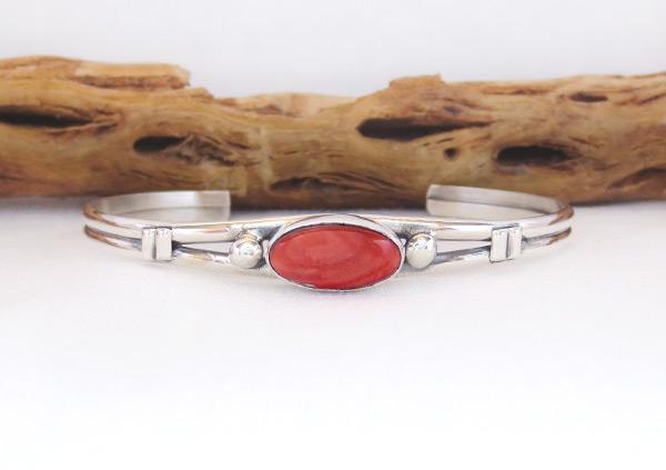 Red Spiny Oyster & Sterling Silver Bracelet Navajo Jewelry - 3261sn