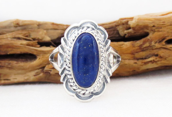 Lapis & Sterling Silver Ring Sz 9 Native American Jewelry - 6312pl