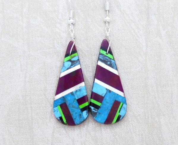 Turquoise Purple & Sterling Silver Earrings Daniel Coriz - 6319rio