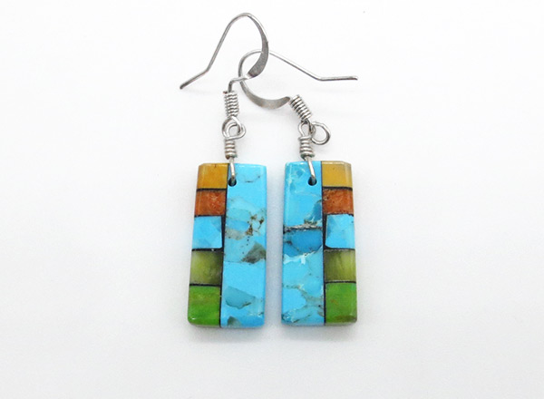 Turquoise Stone Inlay Earrings Mary Tafoya Santo Domingo - 6327mlt