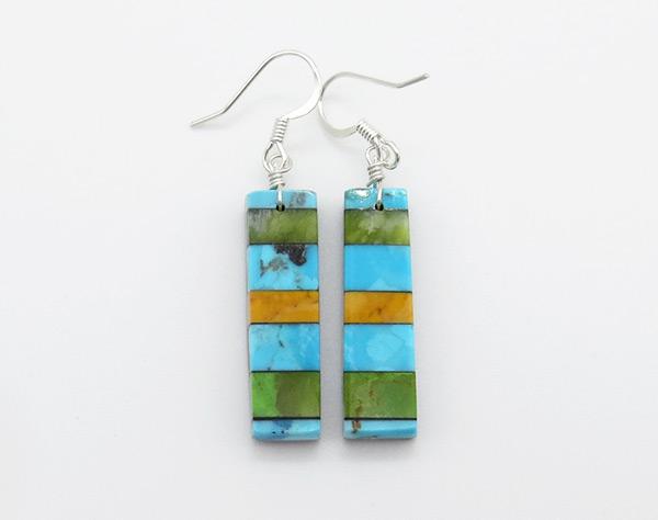Turquoise Stone Inlay Earrings Mary Tafoya Santo Domingo - 6329mlt
