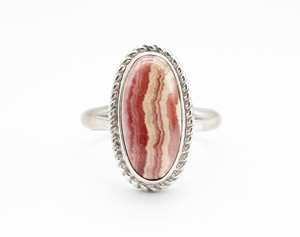 Rhodochrosite Sterling Silver Ring Size 9 Native American Jewelry - 6342rio