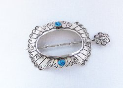 Sterling Silver & Turquoise Stick Barrette Native American - 6315rio