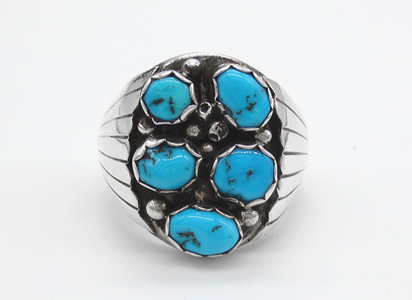Large Turquoise & Sterling Silver Ring Size 13.5 Navajo Jewelry - 6345rio
