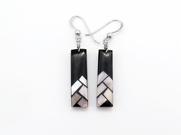 Mosaic Black Jet Shell Inlay Earrings Santo Domingo Jewelry - 4217rio