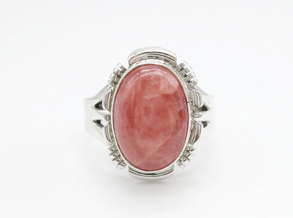Rhodochrosite Sterling Silver Ring Size 9 Native American Jewelry - 4238rio