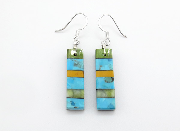 Turquoise Stone Inlay Earrings Mary Tafoya Santo Domingo - 4215mlt