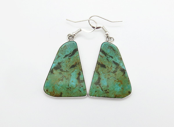 Turquoise & Sterling Silver Earrings Native American Jewelry - 4219rio