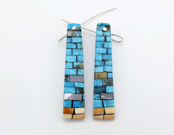 Mosaic Turquoise Shell Earrings Native American Jewelry Kewa - 4239rio