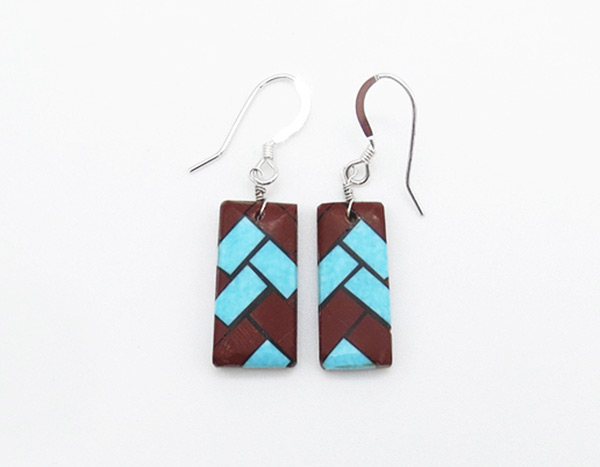 Turquoise Inlay Earrings Santo Domingo Jewelry - 5261rio