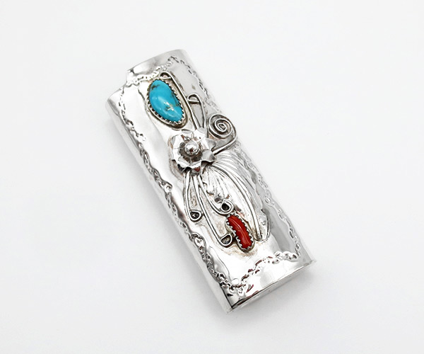 Turquoise Coral & Sterling Silver Lighter Case Native American - 5264rio