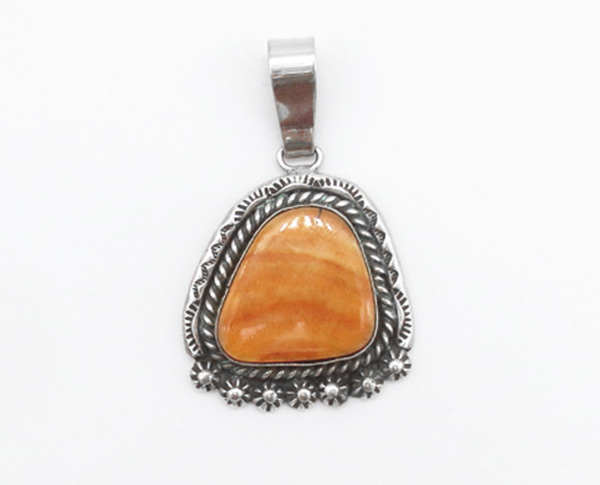 Orange Spiny Oyster & Sterling Silver Pendant Native American - 5265rio