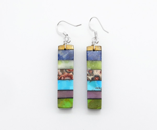 Turquoise Stone Inlay Earrings Mary Tafoya Santo Domingo - 5020mlt