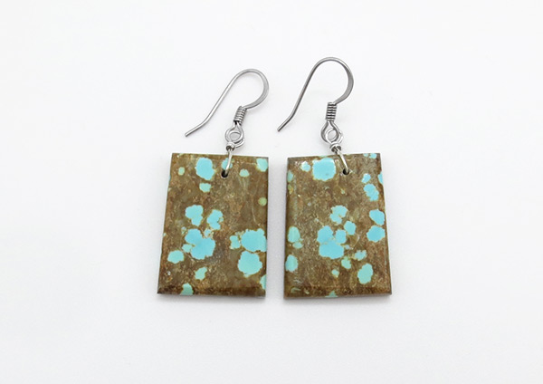 Native American Jewelry #8 Mine Turquoise Slab Earrings - 5021rio