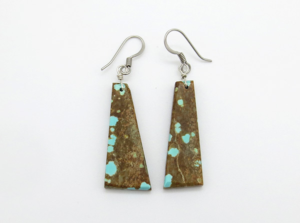 Santo Domingo #8 Mine Turquoise Slab Earrings - 4216rio