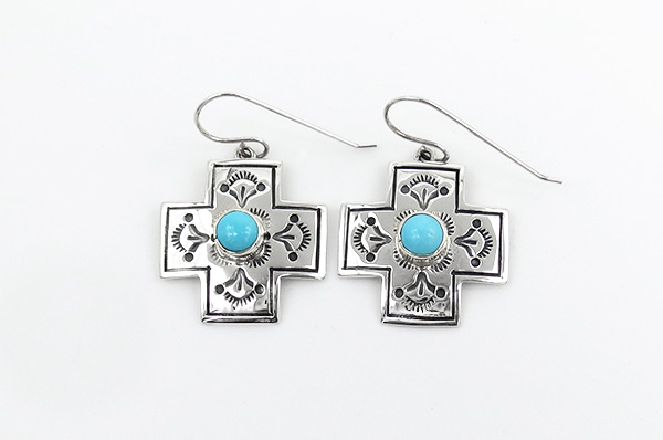 Image 0 of     Turquoise & Sterling Silver Cross Earrings Navajo Jewelry - 5163rio
