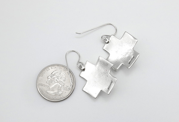 Image 1 of     Turquoise & Sterling Silver Cross Earrings Navajo Jewelry - 5163rio