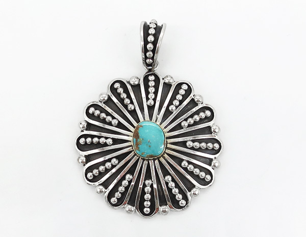 Big Turquoise & Sterling Silver Pendant Johnathan Nez Navajo - 7128coz