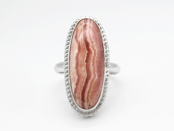 Rhodochrosite Sterling Silver Ring Sz 8 Native American Jewelry - 5148rio