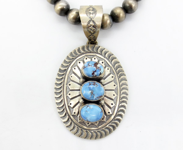 Golden Hill Turquoise & Sterling Silver Pendant w/ Beaded Necklace - 7130coz