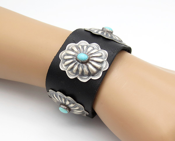 Large Turquoise & Sterling Silver Concho Leather Bracelet R Begay - 4256rio