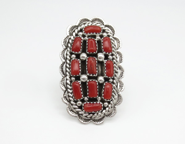 Image 0 of Large Red Coral Sterling Silver Ring Sz 9.5 Navajo Jewelry - 4257rio